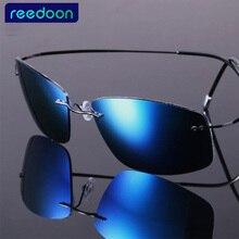2016 New Fashion Ultralight Rimless Titanium Polarized Sunglasses Men Driving Brand Design Sun Glasses Oculos De Sol