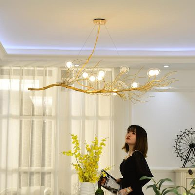 Rétro fer branche pendentif LED lustres Lustre salle à manger LED Lustre éclairage oiseau nid LED luminaires suspendus luminaire - 4