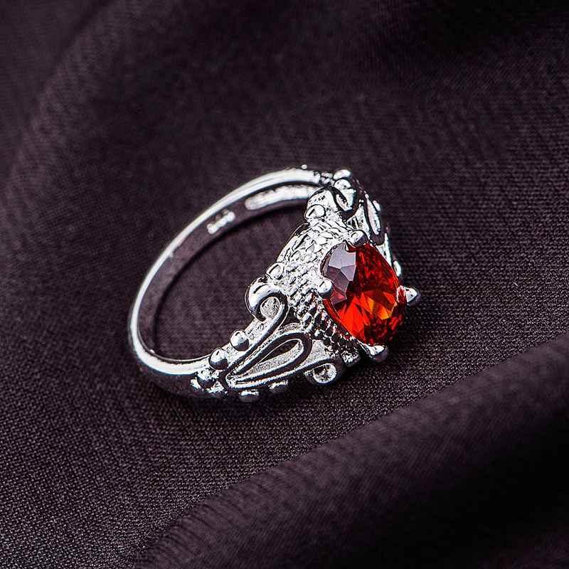 2016ใหม่มาถึงหินสีดำสีแดงโนเบิลเงินชุบแหวนขายส่ง925เครื่องประดับแฟชั่นแหวนเงินZZEHUXPF