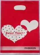 500pcs 15x20cm red heart shaped design Printed Plastic Recyclable Useful Packaging Bags Shopping Hand Bag 01502025