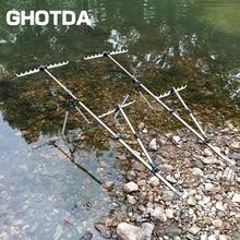 GHOTDA caña de pescar telescópica de aleación de aluminio, soporte manual para varilla, 1,5 M, 1,7 M, 2,1 M