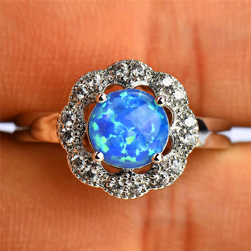 Boho สไตล์สีฟ้าตัดรอบโอปอลแหวน 10KT สีขาวแหวนทองหญิงงานแต่งงานแฟชั่นเครื่องประดับ