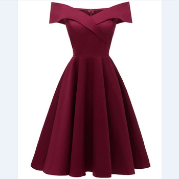 CD1635Q#Satin drill wine red Navy blue black short Boat Neck Bridesmaid dresses wessing party dress gown prom wholesale women 2