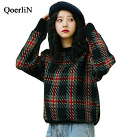 QoerliN Vintage Ribbing Sweater Pullovers Women Autumn Plaid Lantern Long Sleeve Couple Outerwear Checked Tops Jumper Ladies Hot