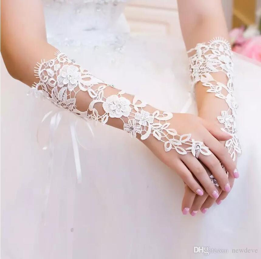 In Stock Bridal Gloves Lace Appliques Beads Ivory or White Fingerless Wedding Gloves Crystals Wedding