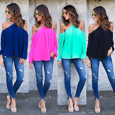 Summer Women's Off Shoulder Tops Halter Chiffon   Blouse     Shirts   Sunsuit Clothing Long Sleeve   Shirt     Blouses   Loose   Blouses   Clothes