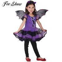 Cute 3pcs Girls Halloween Purple Bat Vampire Princess Dress Wing Headband Cosplay Costume Kids Sets Scary