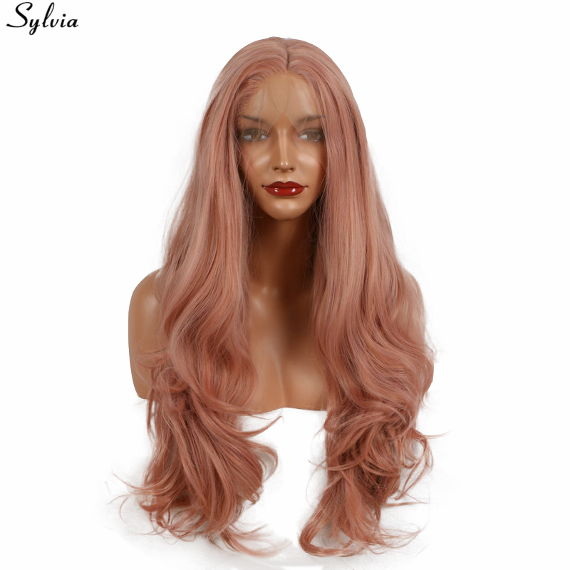 Sylvia long natural wave synthetic lace front heat resistant rose gold color pink glueless natural hairline wig for womens