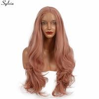Sylvia longue vague naturelle synthétique lace front résistant à la chaleur rose or couleur rose sans colle délié normal perruque pour femmes