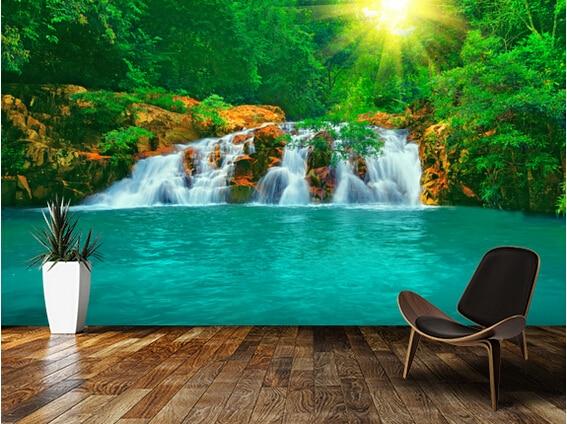 US $15.9 47% di SCONTO|Personalizzato carta da parati paesaggio. Piscina  rock & cascata. 3d murales per soggiorno camera da letto della parete della  ...
