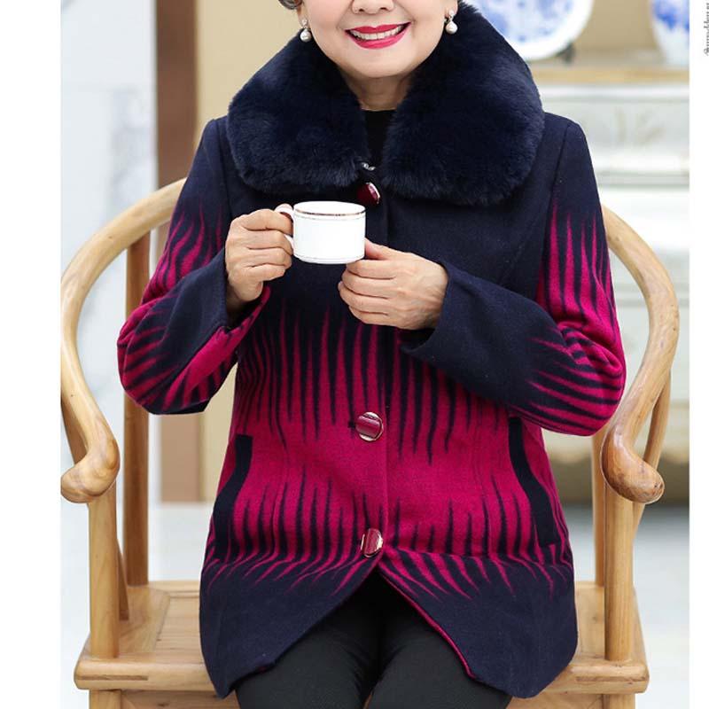 Taille Grande Mère bleu Femmes De Col Fourrure fuchsia Manteau Cachemire Chargé Des P18097 Moyen D'âge Infirmière Royal Rouge q8wWtpzw