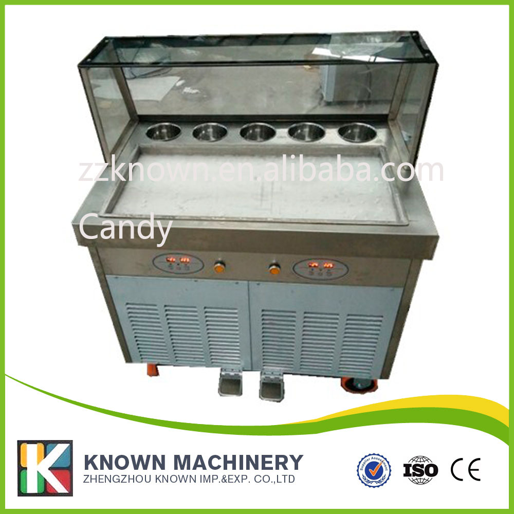Free shipping 755mm big pan rolled fried ice cream machine single square pan thailand ice roll machine ice cream maker free shipping thailand single pan with 6 barrels fried ice cream roll machine with refrigerant