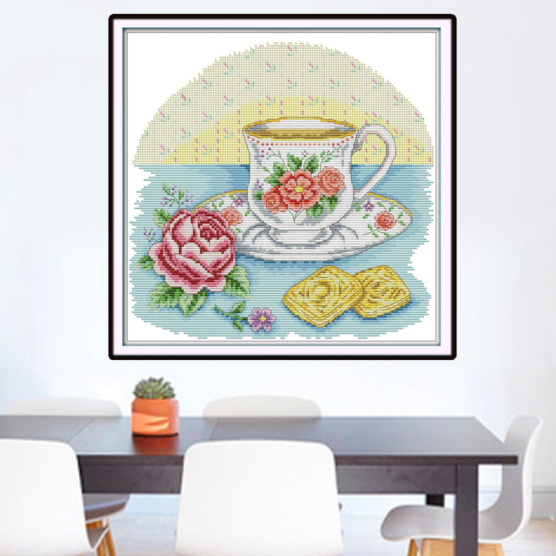 Joy Sunday,Afternoon tea time,Chinese cross stitch embroidery set,printing cloth embroidery kit,cross stitch pattern,cross stitch (3)