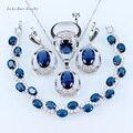 L & B Clássico Azul imitação de Safira Conjuntos de Jóias de Casamento Para As Mulheres Pulseiras de Cor Prata/Brincos/Pingente/colar/Anel