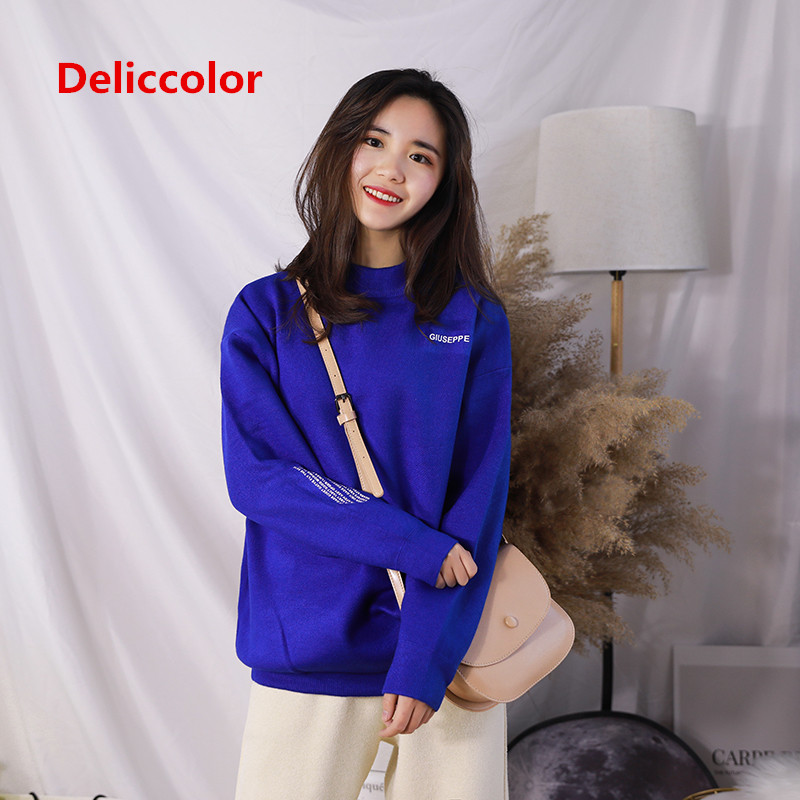 DELICCOLOR 2018 Winter women's New Fashion women sweater uniform code  long-sleeve sweater women slim pullover sweater  women