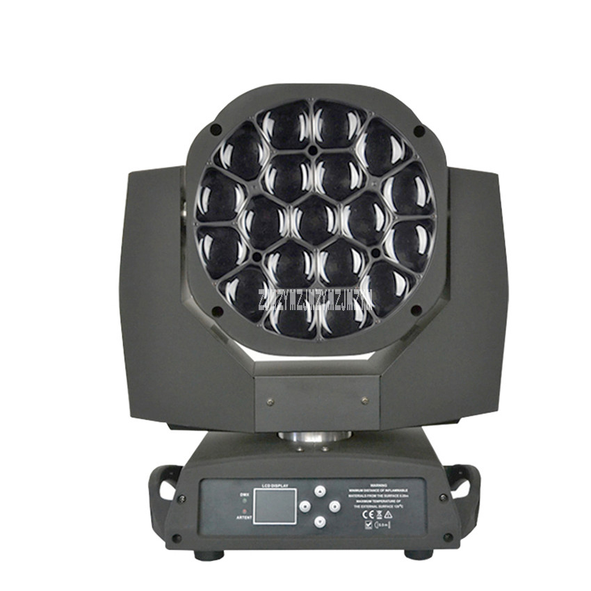 New 19 15w Four In One Led Focus Bee Eye Moving Head Light Dmx512 Wedding Bar Show Ktv Stage Lighting Ac100v 240v / 50 60hz 450w