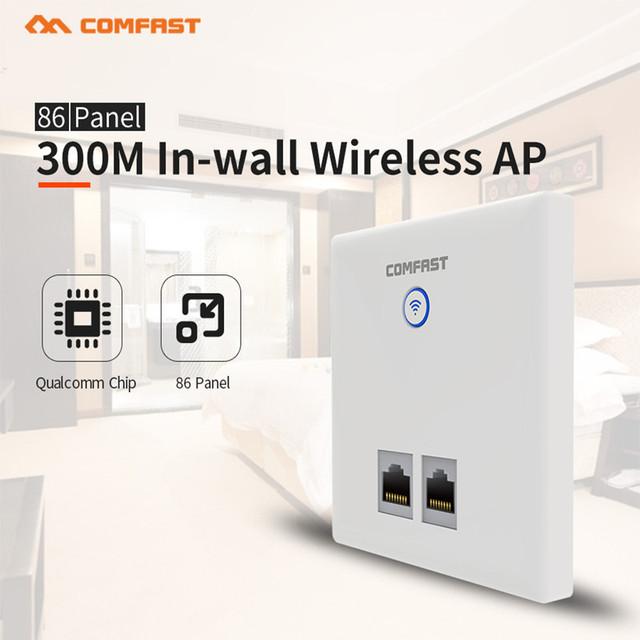 Nueva CF-E535N 300 Mbps COMFAST Multifunción En pared punto de ACCESO Inalámbrico de 2.4 GHz Router con puerto RJ45 apoyo 48 V POE potencia para Hotel habitación