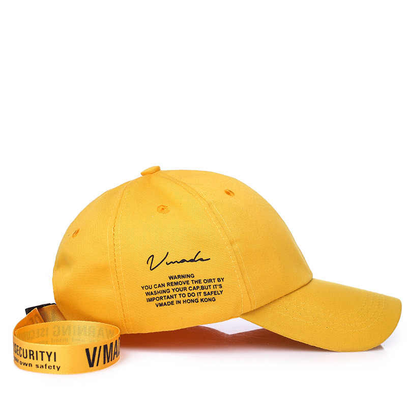 1024022714303 ... 2019 Women Baseball Cap Korea Star Yellow Black Curved Dad Hats Men  Lover Letter Print Hip ...