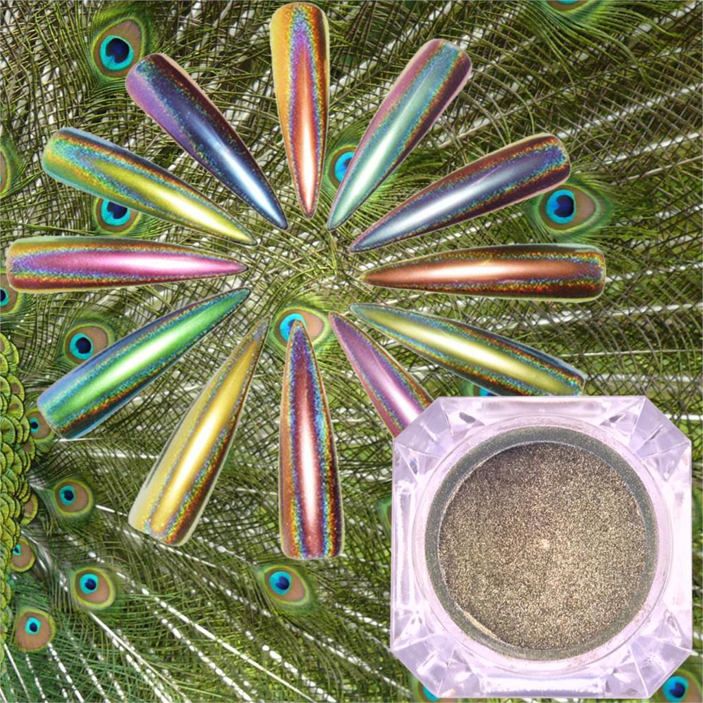 0,2g Pfau Holographische Chameleon Nagel Glitter Pulver Spiegel Holo Laser Chrome Pigment Maniküre Nagel Kunst Dekorationen Nagelglitzer