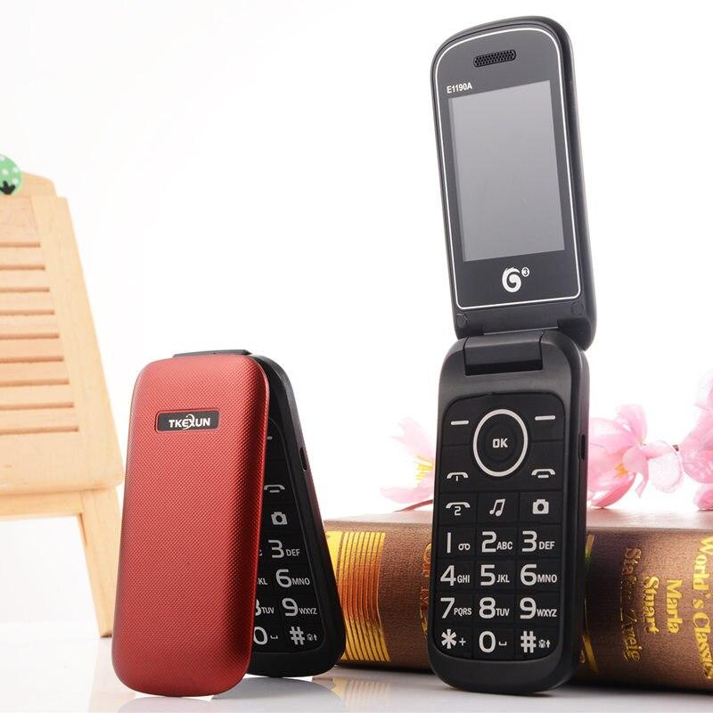 Originele flip Russische toetsenbord goedkope senior E1190A mobiele telefoon gsm china Oudere clamshell Mobiele telefoons Spaans Russisch Telefoon