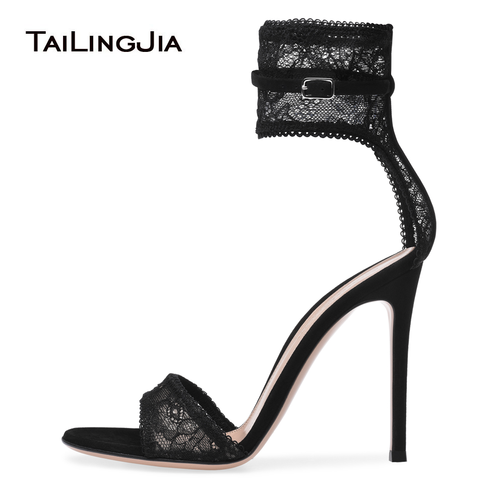 Black Stretch Lace High Heel Sandals Gold Fishnet Dress Shoes Ankle Strap Summer Shoes Women Party Heels Sexy Ladies Stilettos adriatica a3146 1213q
