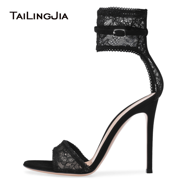 e42ab2094635 Black Stretch Lace High Heel Sandals Gold Fishnet Dress Shoes Ankle Strap Summer  Shoes Women Party Heels Sexy Ladies Stilettos