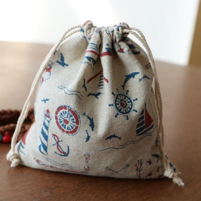 2016 Luxury Linen Cotton Gift Bag 50pcs/Lot 25x32cm Large Storage Bags Drawstring Travel Packing Bag