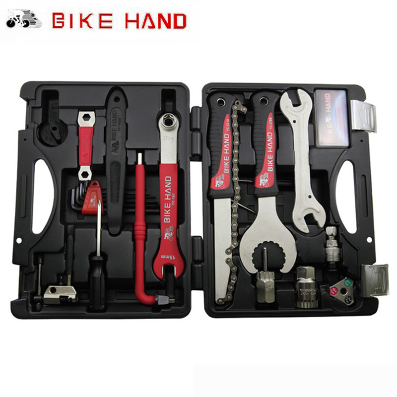 BIKEHAND Multiful Bicycle Tools Kit 18 In 1 Portable Bike Repair Tool Box Set Hex Key Wrench Remover Crank Puller Cycling Tools 44pcs set mountain bike patchs maintenance repair box diagnostic tools kit valuables cycling chain case bicycle accessories
