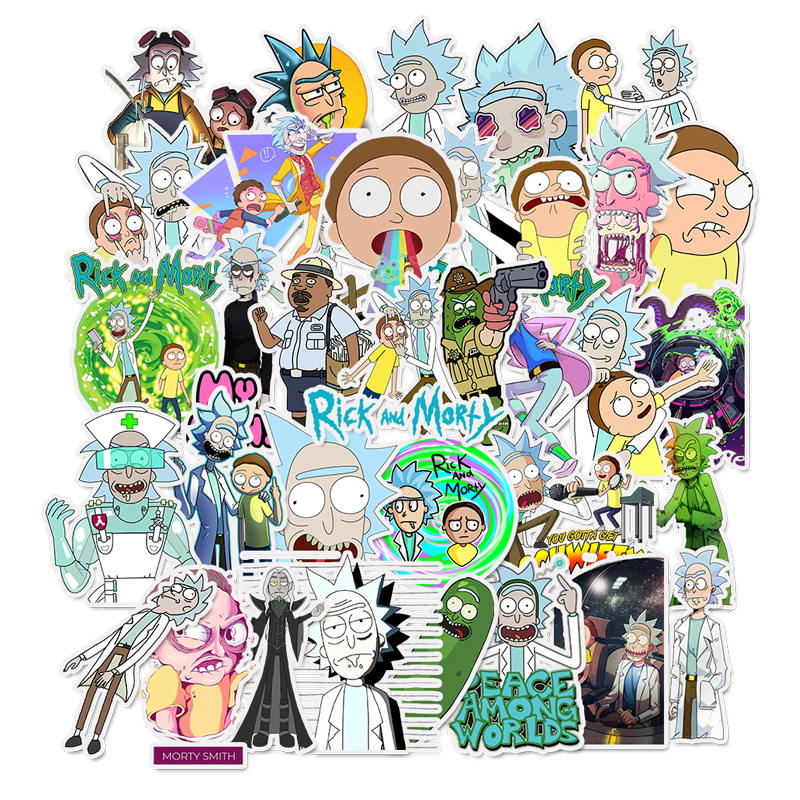 35Pcs/lot Drama Rick And Morty 2019 Stickers Decal For Laptop Snowboard Luggage Car Fridge DIY Styling Vinyl Home Decor Pegatina