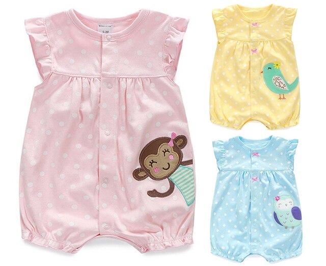 3ef66b89a Mamelucos de bebé verano bebé Niñas Ropa de dibujos animados ropa de bebé  recién nacido ropa