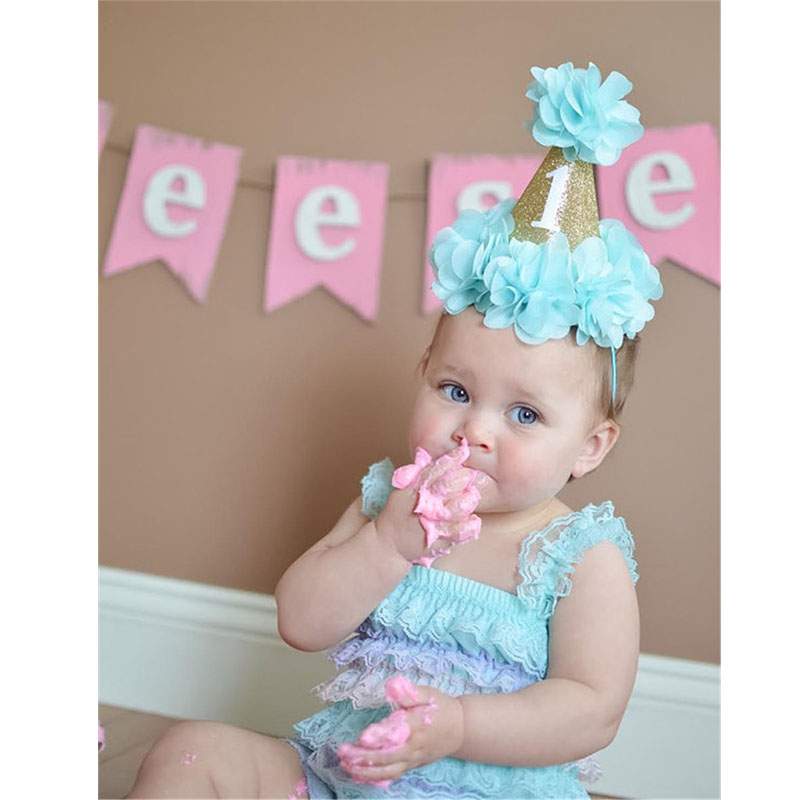 Eva2king One-year-old Baby Children Party Timing Hats Bling Priness Crown Headwear  Oyuncak Hat For Kids Boys Girls