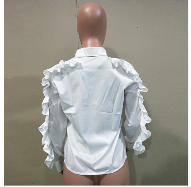 Fashion Off Shoulder Shirt Female Ruffles Sleeve Zipper Long Sleeve Blouse Women 2019 Spring Korean Clothes in Blouses amp Shirts from Women 39 s Clothing