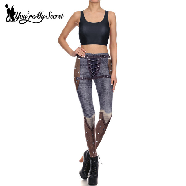 [You're My Secret] Retro Mesh Wire Fighter Armor Slim Leggings Women 3d Digital Print Rivet Leggins Workout Mujer Pants Set
