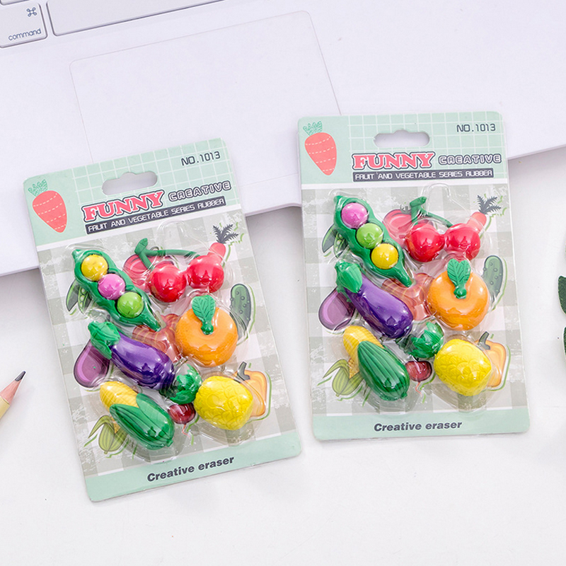 6 Pcs/set Fruit Vegetables Eraser Creative Cartoon Pencil Rubber Eraser Kawaii Stationery School Supplies Papelaria Kids Gifts