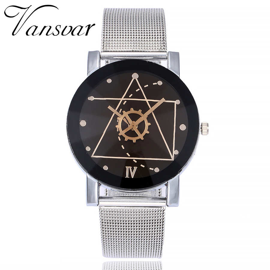 Vansvar Quartz Wristwatches Reloj Mujer Fashion Stainless Steel Womens Watches Classic Casual Bisiness Watch 17DEC18