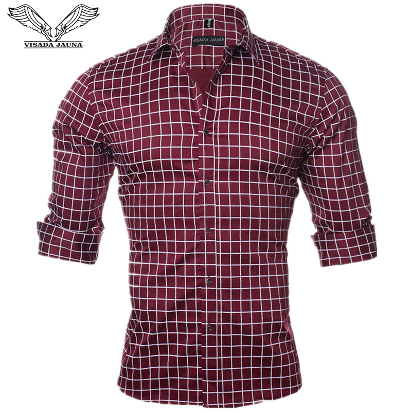 VISADA JAUNA Lelaki Baju Long Sleeve Kasual Fit Sosial Slim Shirt Lelaki Kapas Baju Plaid Pepejal Masculina Plus Size M-5XL N1144