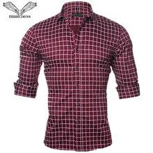 Visada jauna 男性シャツ長袖カジュアルフィット社会スリムシャツ男性の綿の格子縞固体 camisas masculina プラスサイズ M 5XL n1144