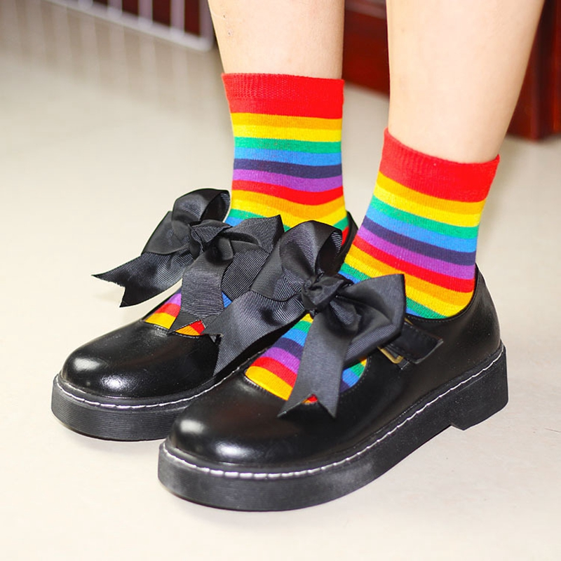 Fashion Rainbow Sweet Ice Cream Macaron Color Cotton Women   Socks   Hot Sale Bright Stripe   Socks   Spring Summer Autumn Thin   Socks
