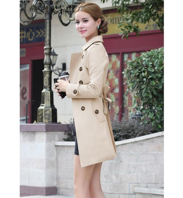 2016 spring autumn new women Trench coat long section sashes slim thin windbreaker women casual  Coat