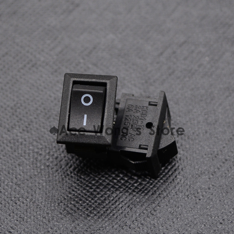10pcs AC 250V 3A 2 Pin ON/OFF I/O SPST Snap in Mini Boat Rocker Switch 10*15MM promotion 5 pcs x red light illuminated double spst on off snap in boat rocker switch 6 pin