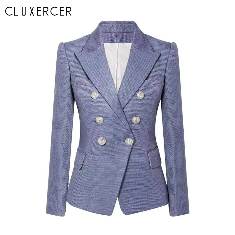 Blazer Jacket Women Spring Autumn 2019 New Fashion Office Lady Suit Elegant Double Breasted Slim Blazer