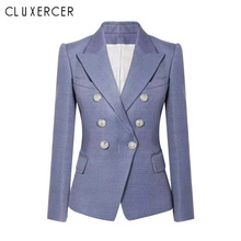 Blazer Jacket Women Spring Autumn 2019 New Fashion Office Lady Suit Elegant Double Breasted Slim colbert dames
