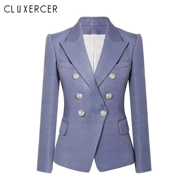 Chaqueta Blazer mujer primavera otoño 2019 nueva moda Oficina señora traje elegante doble Breasted Slim Blazer colbert damas-in chaqueta de deporte from Ropa de mujer    1