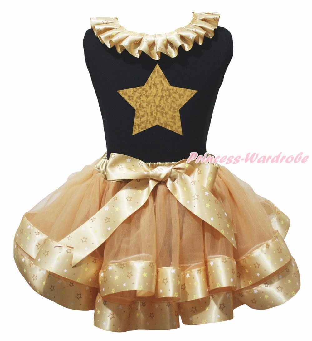 ФОТО My Heart Belong to Daddy Star Cartoon 1st Black Top Gold Khaki Star Satin Trim Skirt Girls NB-8Y