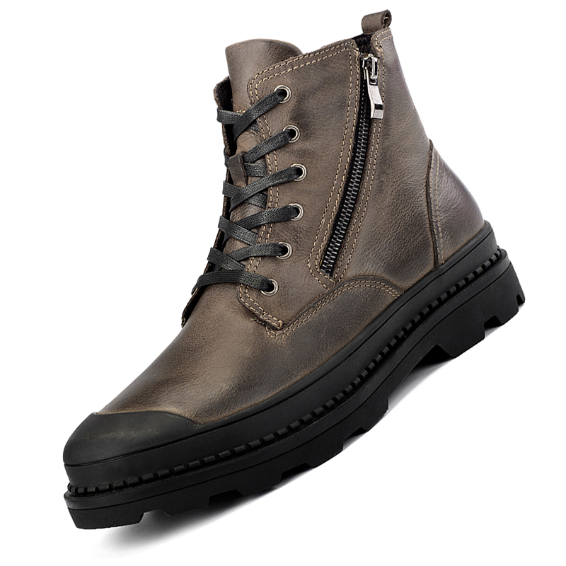 Men Cow Leather Boots High-top Men's Leather Casual Shoes With Thick Bottom Shoes Flat Shoes 2019 New Chunky Sneakers