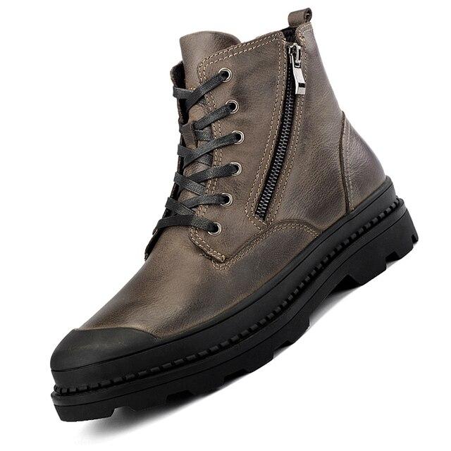 Men Cow Leather Boots High-top Men's