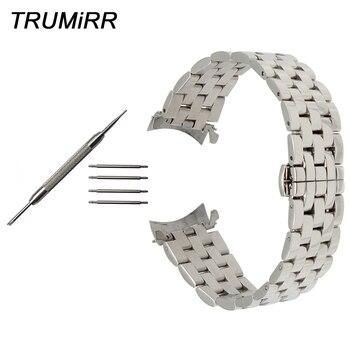 Edelstahl Armband Curved End Strap für Montblanc Männer Frauen Uhr Band Schmetterling Verschluss Handgelenk Armband 18mm 20mm 22mm 24mm