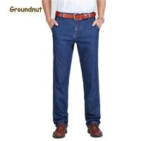 Arachidi Marca Puro Cotone 100% Affari Straight Leg Jeans Lunghi Degli Uomini Del Progettista di Estate Vestiti Del Denim Dei Pantaloni Pantaloni Casual Maschile