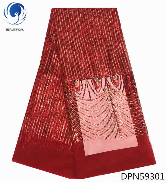 BEAUTIFICAL Red african lace fabrics sequins embroidery tulle lace fabric 3d deep pile french net lace fabric for dress DPN593