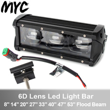 6D Lens Led Work Light Bar 60W 120W 210W Single Row Driving 4x4 Offroad For Trucks SUV ATV Boat 12V 24V